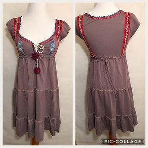 Free People Boho Gypsy Lavender Gray Dress SZ XS
